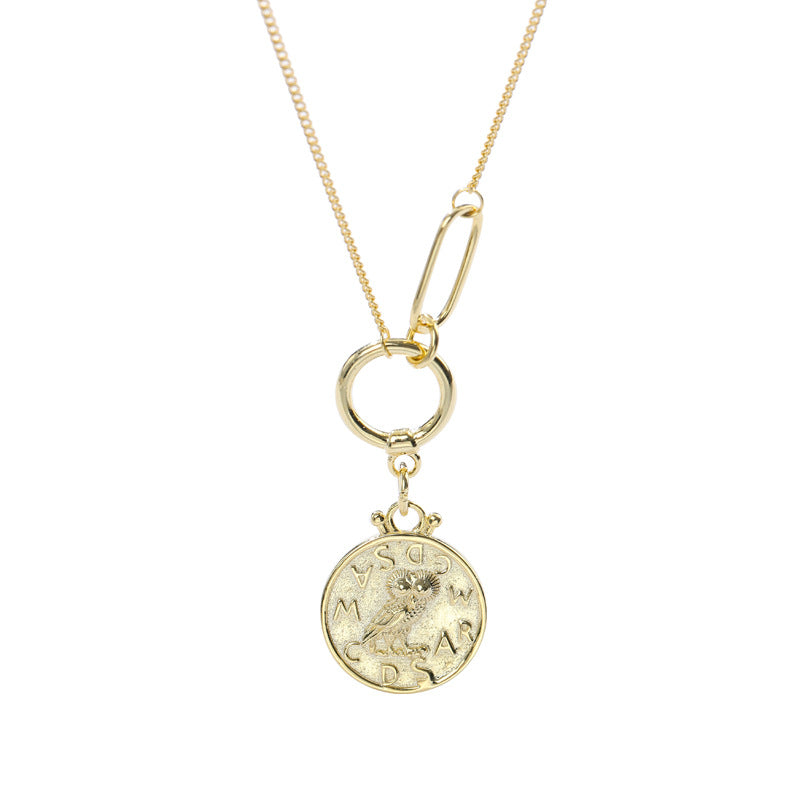Owl Multi-circle Sterling Silver Necklace