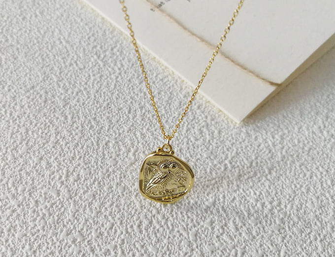 Irregular Owl Sterling Silver Plated Gold Necklace