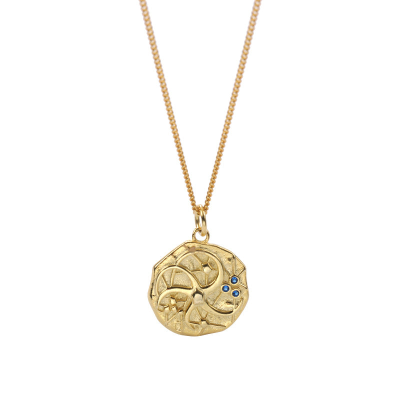 Irregular Cosmic Round Cut Sterling Silver Plated Gold Necklace