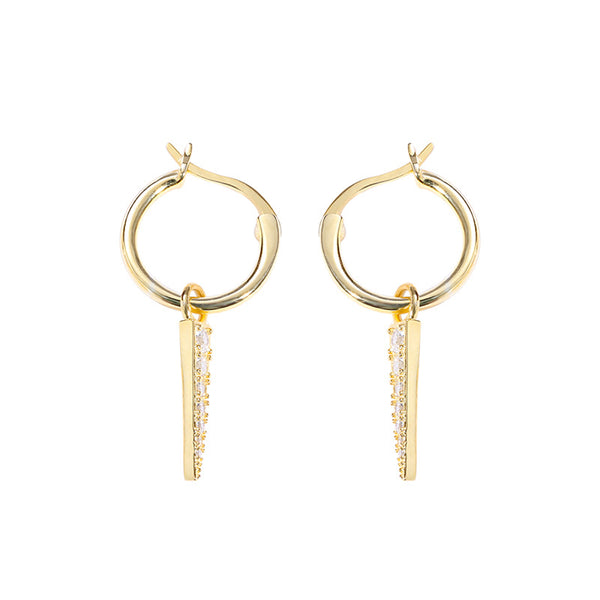 Glossy Dangling Round Cut Sterling Silver Plated Gold Stud Earring