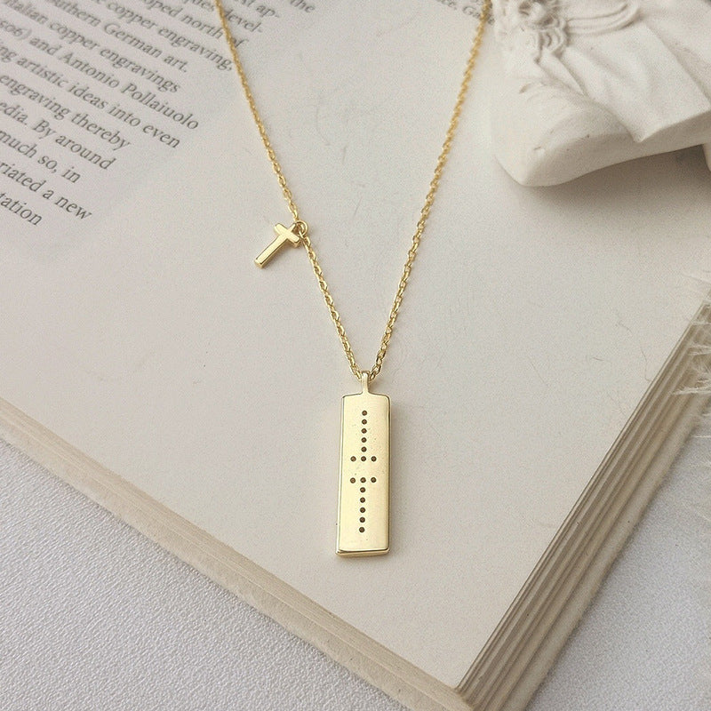 T-shaped Cross Round Cut Sterling Silver Plated Gold Necklace