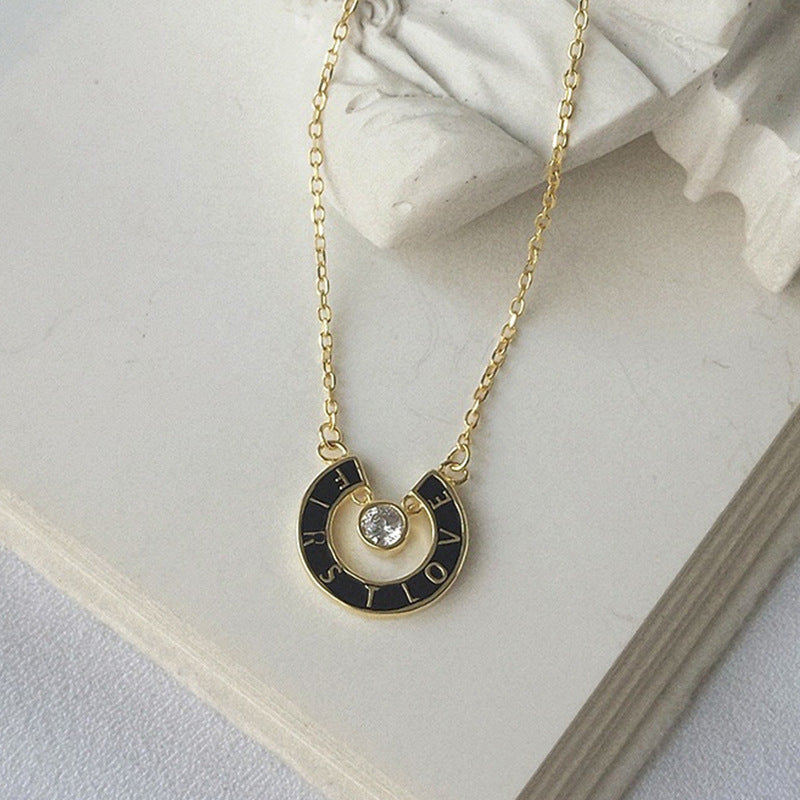 Openwork Circle Letter Round Cut Sterling Silver Plated Gold Necklace