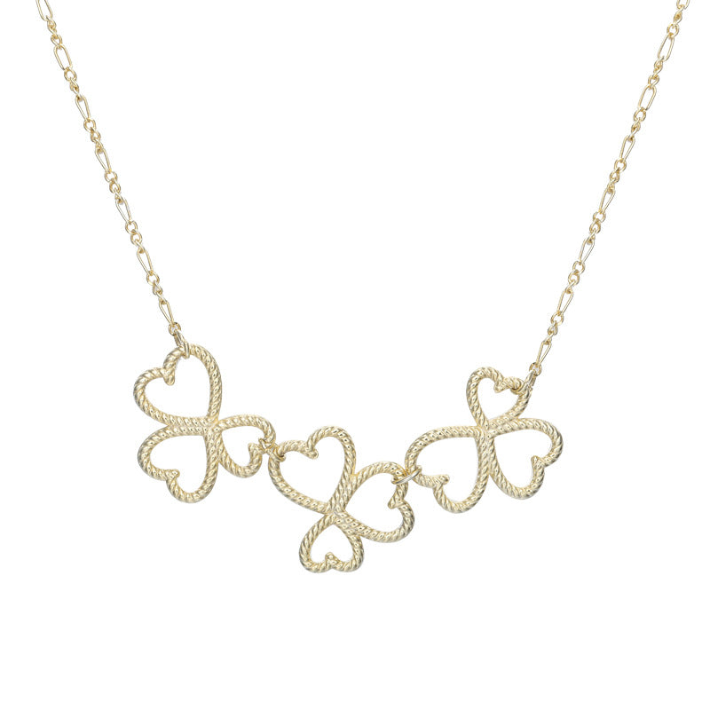 Twist Weaving Shamrock Sterling Silver Plated Gold Necklace