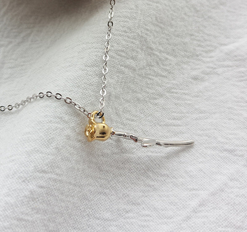 Golden Eternal Rose Sterling Silver Plated Platinum Necklace