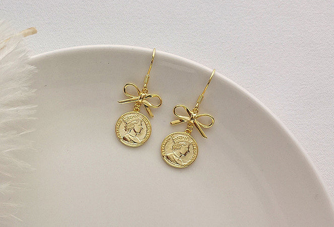 Retro Bow Portrait Disc Sterling Silver Plated Gold Earring