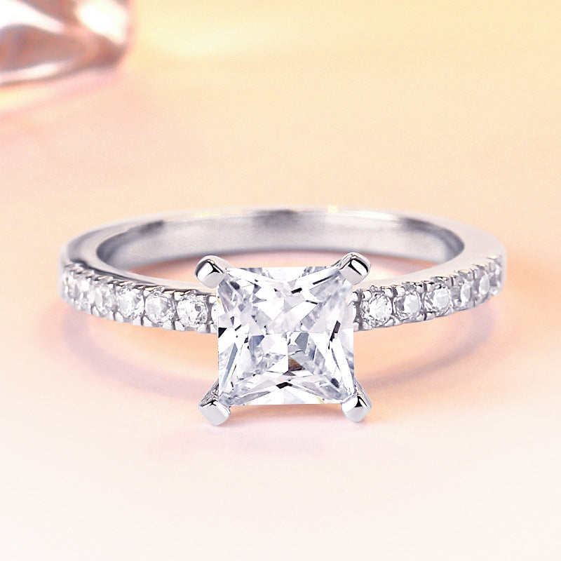 Noble Princess Cut Sterling Silver Ring-TL-Juri Elle