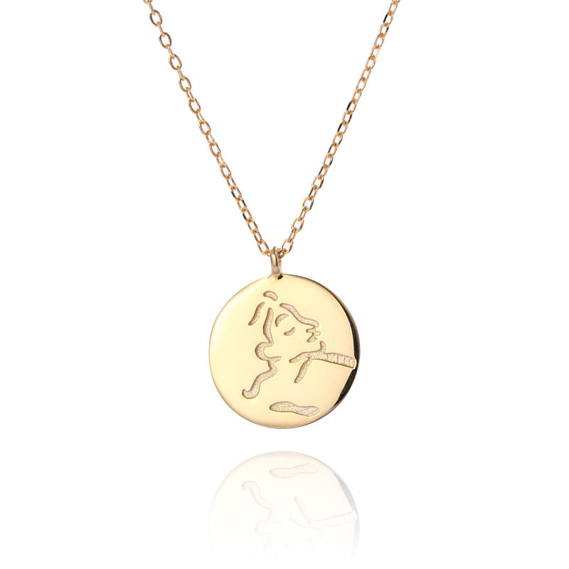 Portrait Sterling Silver Plated Gold Necklace