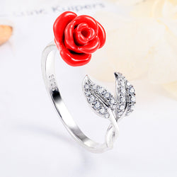 Resizable Rose Round Cut Sterling Silver Ring