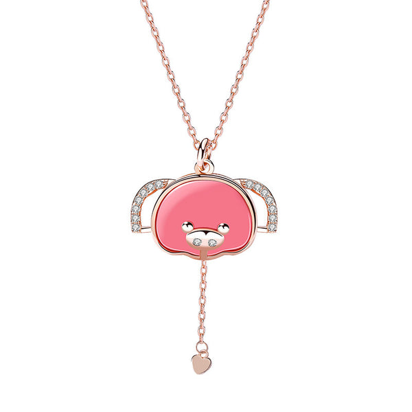 Pink Piglet Round Cut Plated Rose Gold Necklace