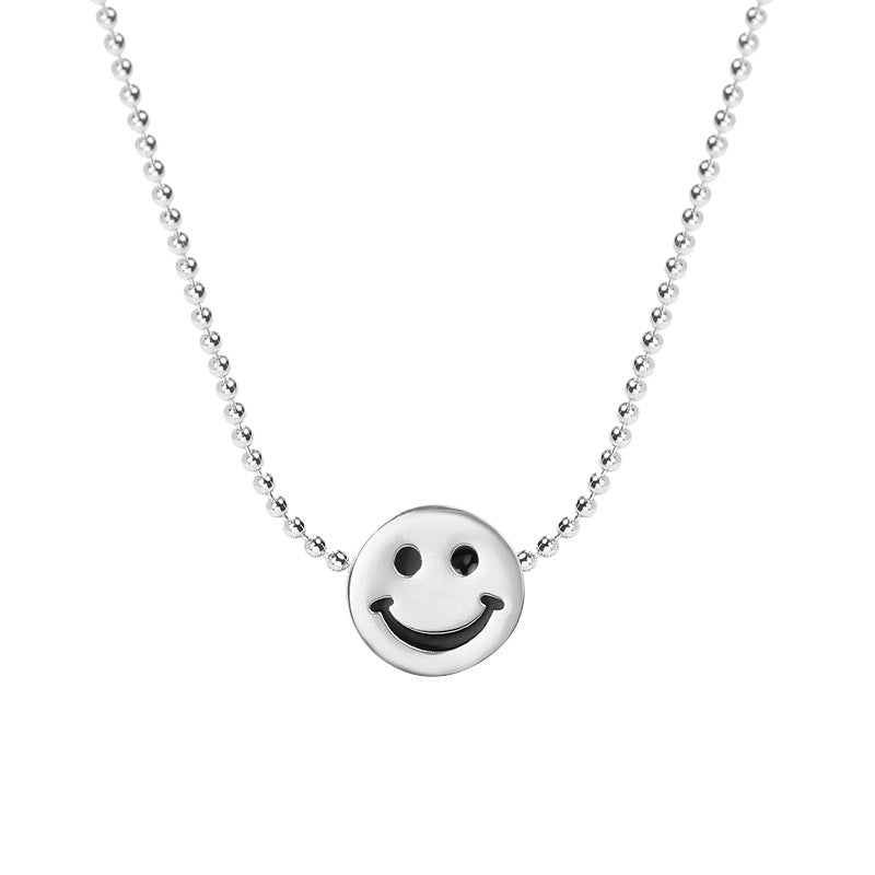 Cartoon Smiley Bead Sterling Silver Necklace