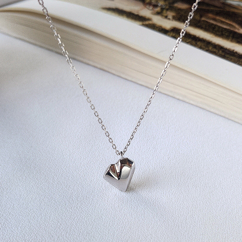 Irregular Heart Sterling Silver Plated Platinum Necklace