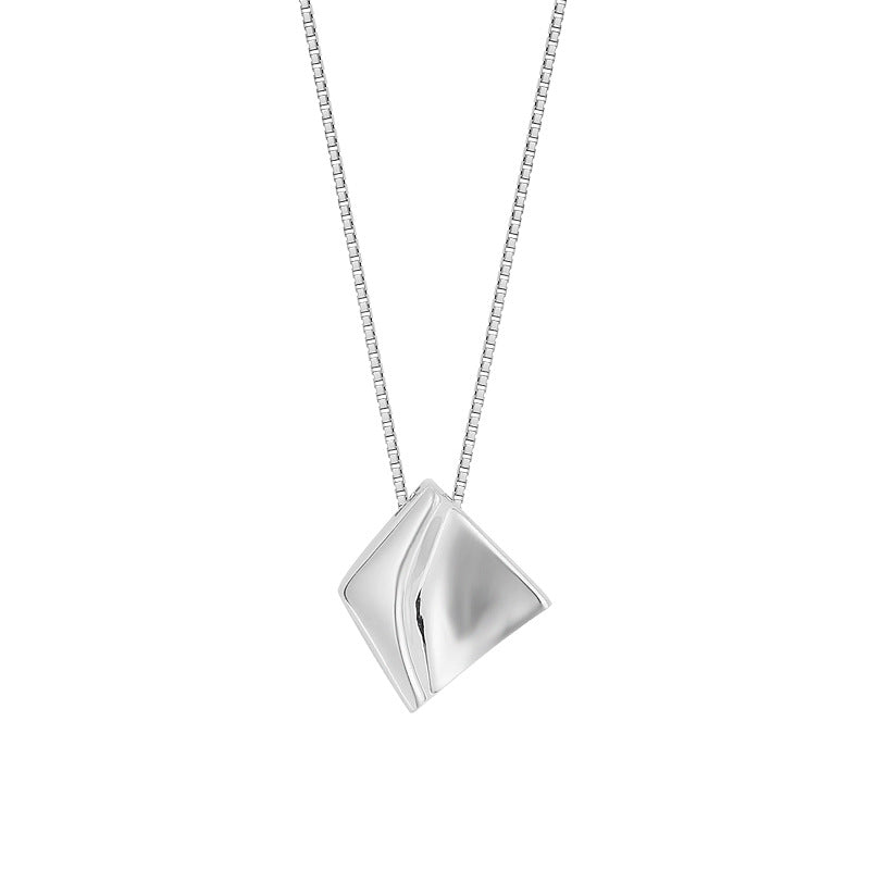 Mini Geometry Sterling Silver Plated Platinum Necklace