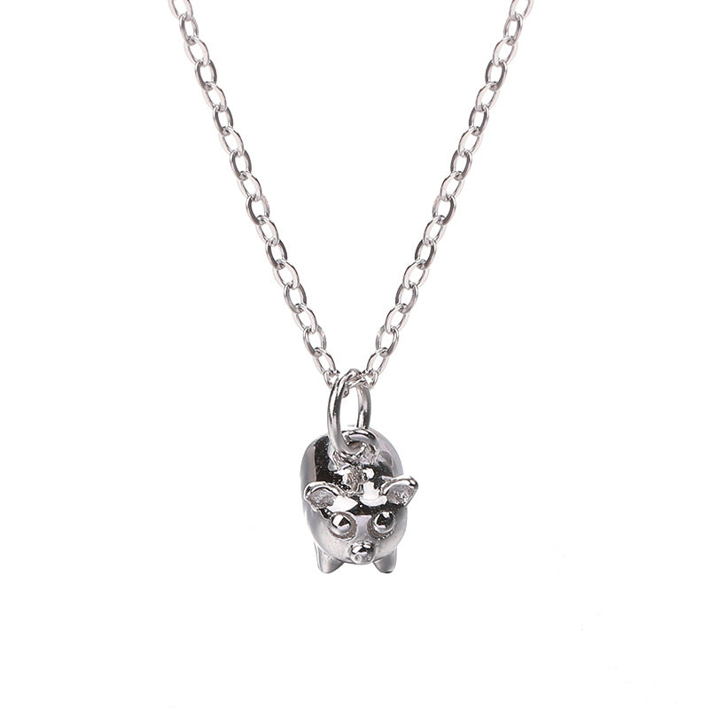Zodiac Three-dimensional Pig Sterling Silver Plated Platinum Necklace