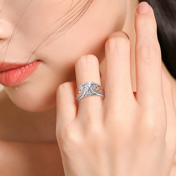 Hollow Leaf Round Cut Sterling Silver Ring