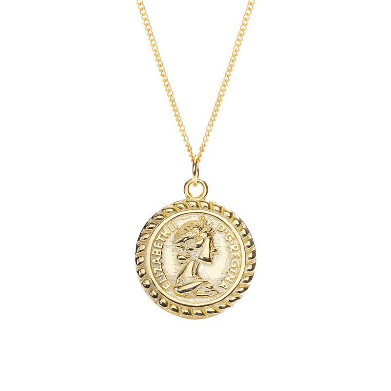 Portrait Lettering Coin Sterling Silver Plated Gold Necklace