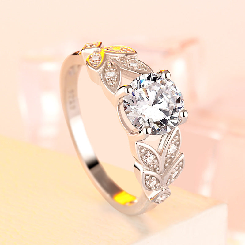 Stunning Butterfly Round Cut Sterling Silver Ring For Women
