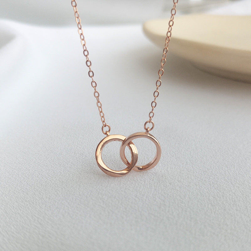 Interlocking Ring Round Cut Sterling Silver Necklace