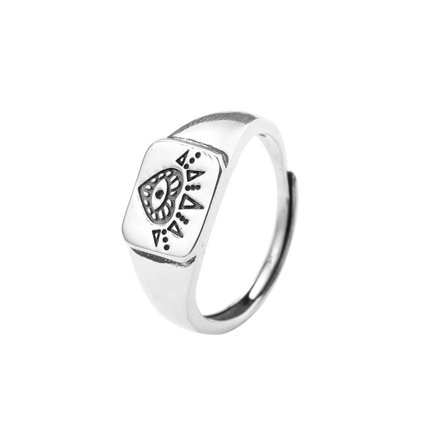 Heart Sun Eye Sterling Silver Ring