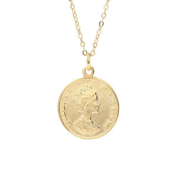 Elizabeth Portrait Coin Sterling Silver Necklace