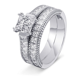 Eternity Princess Cut Sterling Silver Ring-TL-Juri Elle