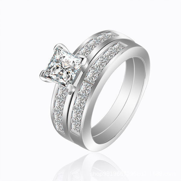 Endless Love Princess Cut Sterling Silver Ring-TL-Juri Elle