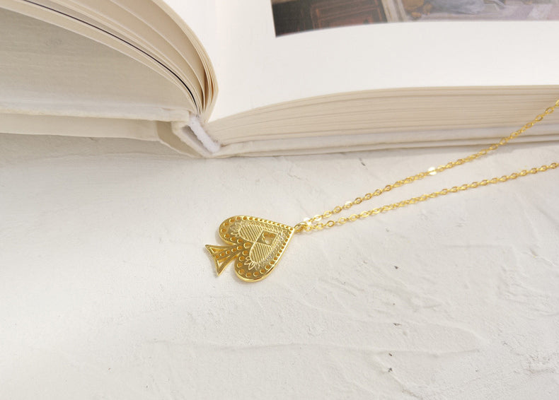 Poker Card Heart Sterling Silver Plated Gold Necklace