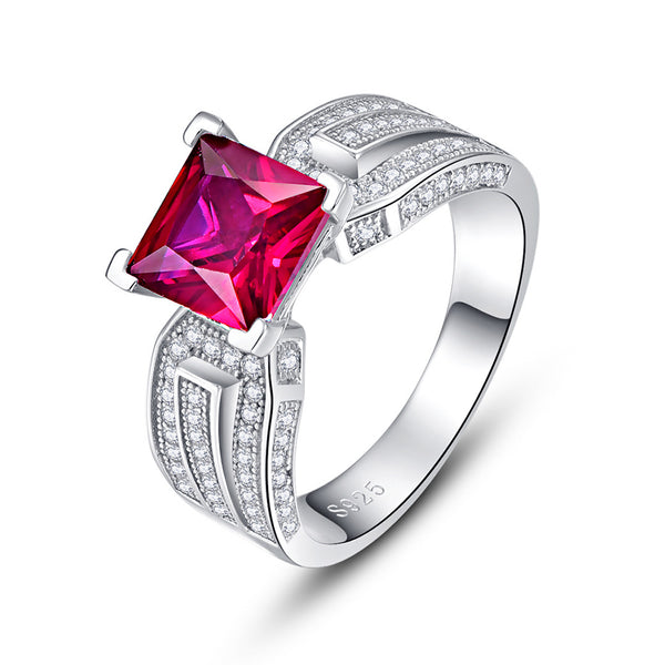 Pure Princess Cut Sterling Silver Ring-ZX-Juri Elle
