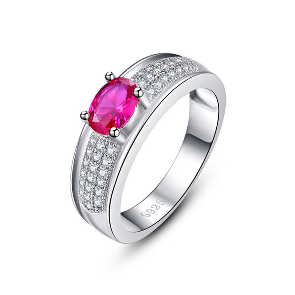 Gemstone Oval Cut Sterling Silver Ring-ZX-Juri Elle