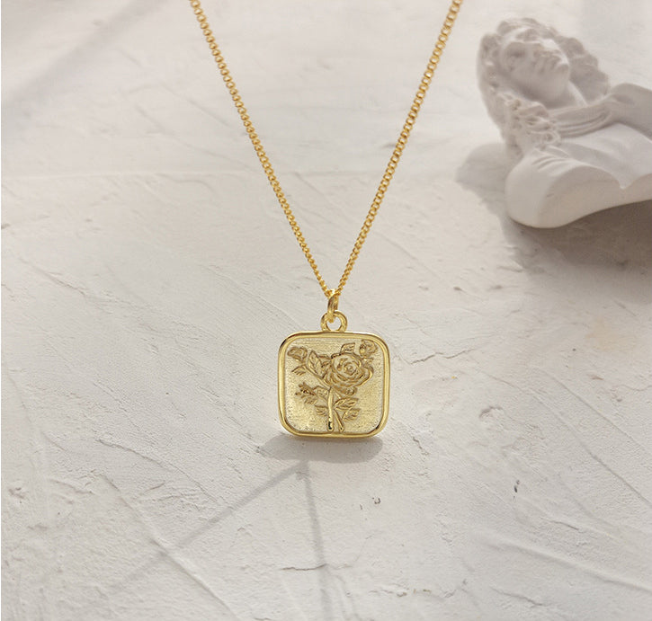Golden Rose Card Sterling Silver Plated Gold Necklace