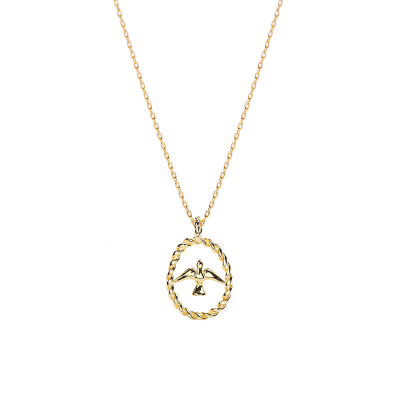 Golden Swallow Sterling Silver Plated Gold Necklace