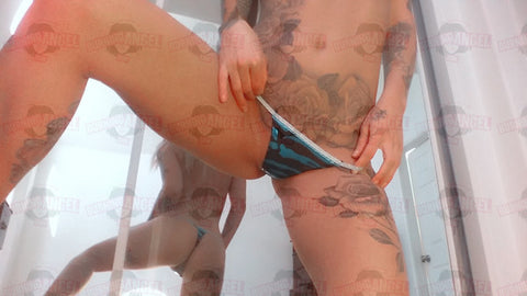 Kleio Valentien's worn Blue Camo Thong From Her Closet