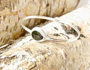 Whitby Jet Silver Bangle Pear Design