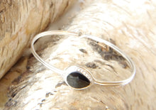 Load image into Gallery viewer, Whitby Jet Silver Bangle Pear Design