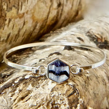 Load image into Gallery viewer, Blue John Hexagon Silver Bangle