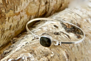 Whitby Jet Tension Bangle Rounded Square Design