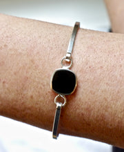 Load image into Gallery viewer, Whitby Jet Tension Bangle Rounded Square Design
