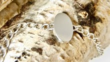 Load image into Gallery viewer, Labradorite Silver Link Chain Bracelet Oval