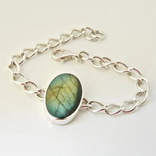 Load image into Gallery viewer, Labradorite silver link chain bracelet