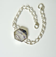 Load image into Gallery viewer, Blue John & Jet Reversible Silver Link Chain Bracelet