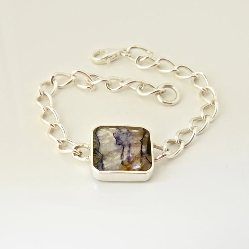 Blue John & Mother of Pearl Reversible Bracelet