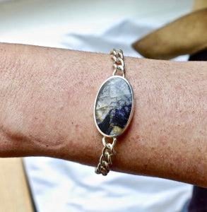 Blue John & Mother of Pearl Reversible Bracelet Oval Design