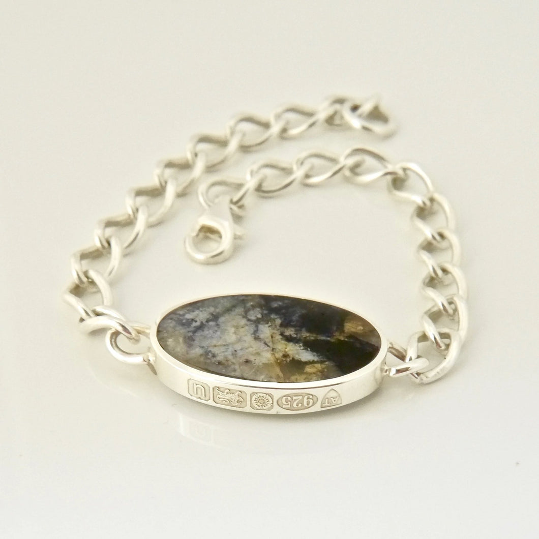 Blue John & Mother of Pearl Reversible Chain Bracelet Oval Design