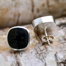 Load image into Gallery viewer, whitby jet solid silver earrings