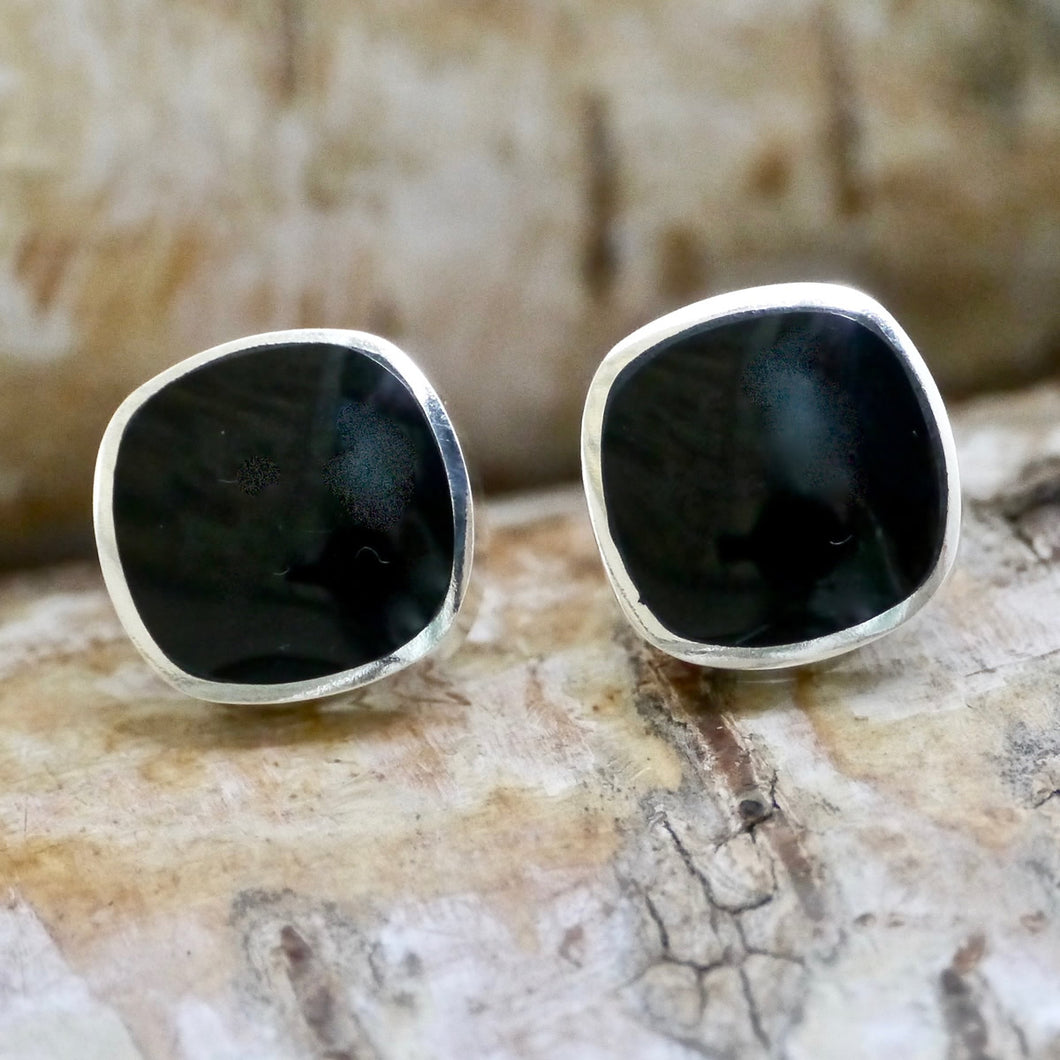 whitby jet stud earrings by my handmade jewellery