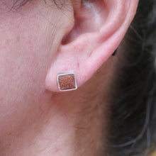 Load image into Gallery viewer, goldstone silver earrings