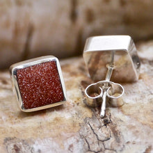 Load image into Gallery viewer, goldstone sterling silver earrings