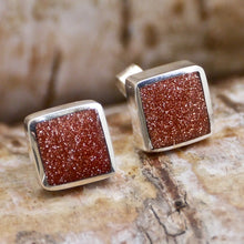 Load image into Gallery viewer, goldstone silver earrings by my handmade jewellery
