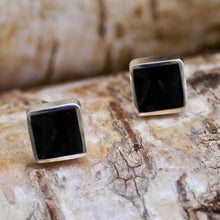 Load image into Gallery viewer, whitby jet silver stud earrings by my handmade jewellery