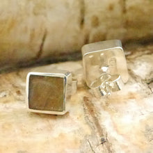 Load image into Gallery viewer, labradorite stud earrings square design