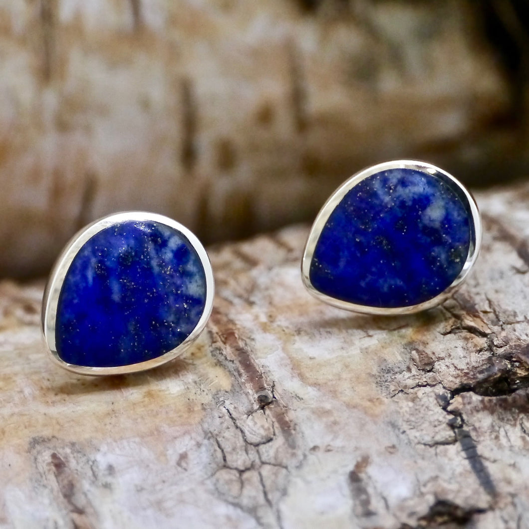 lapis silver stud earrings by my handmade jewellery